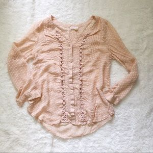 Anthropologie Meadow Rue Blush Pink Button Up Top